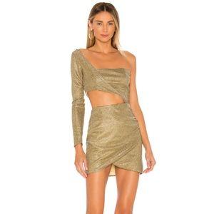 Superdown Althea Mini Gold Holiday Dress